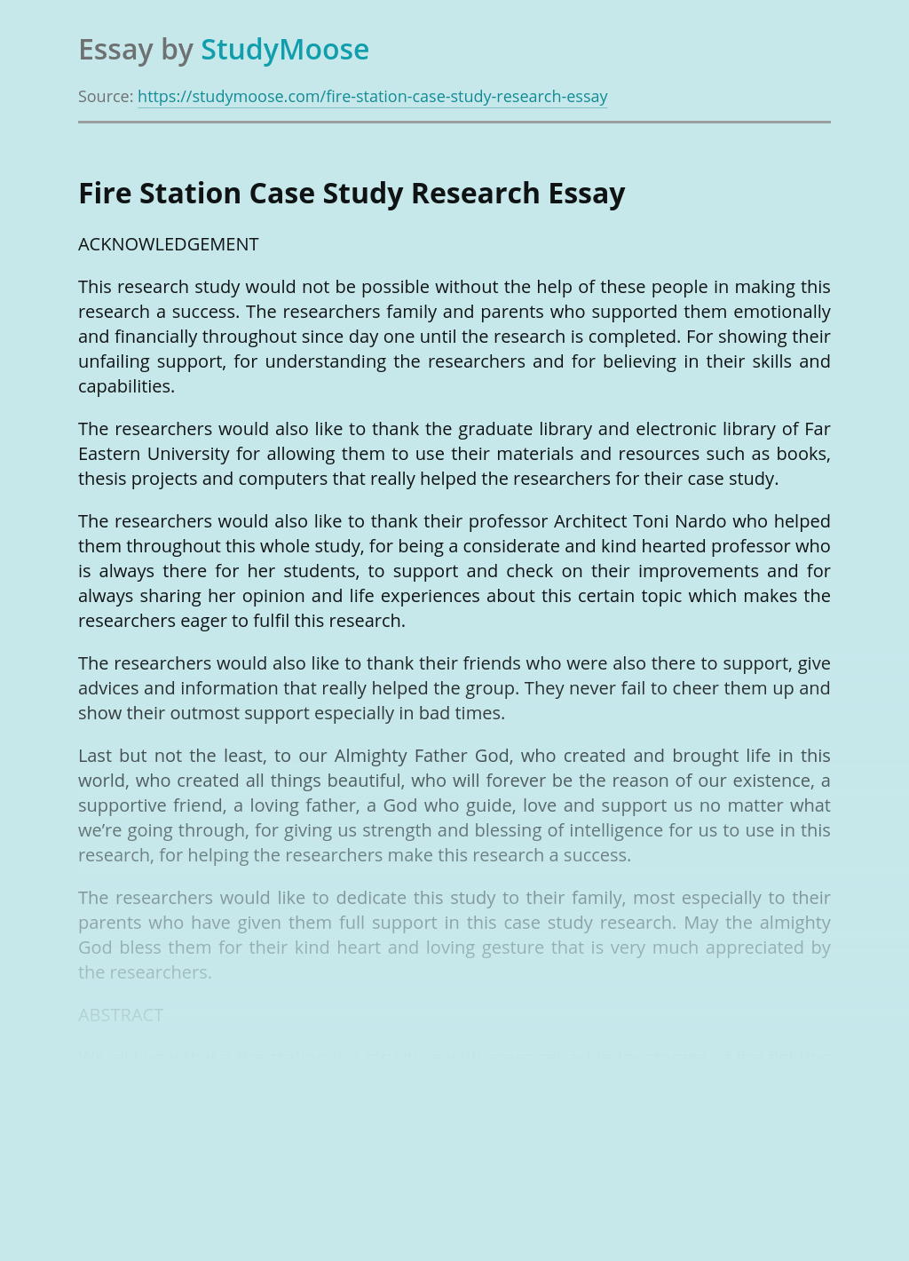 Fire Station Case Study Research
