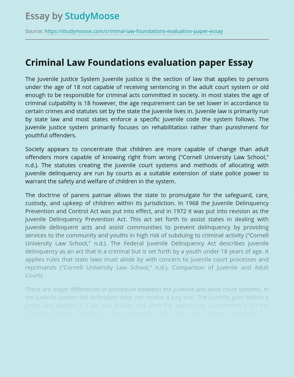 Criminal Law Foundations evaluation paper
