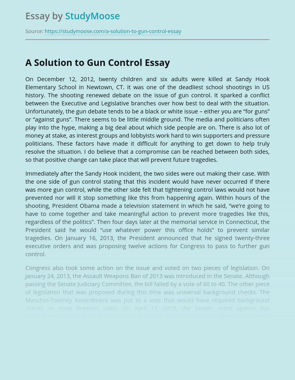 A Solution to Gun Control