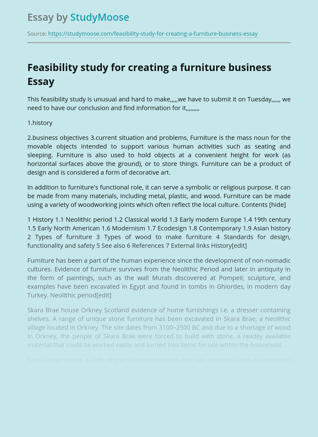 Feasibility study for creating a furniture business
