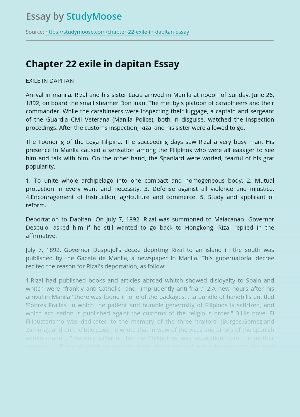 Chapter 22 exile in dapitan