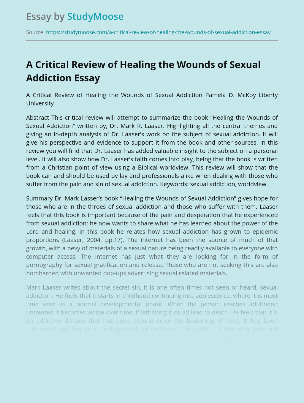 A Critical Review of Healing the Wounds of Sexual Addiction