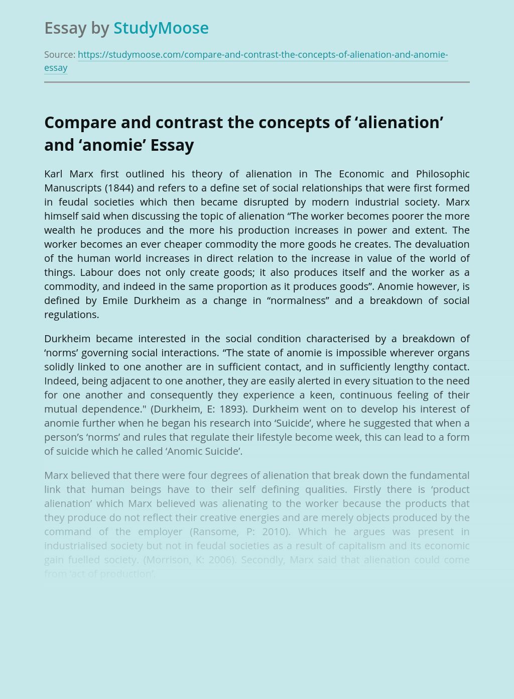 Compare and contrast the concepts of 'alienation' and 'anomie'