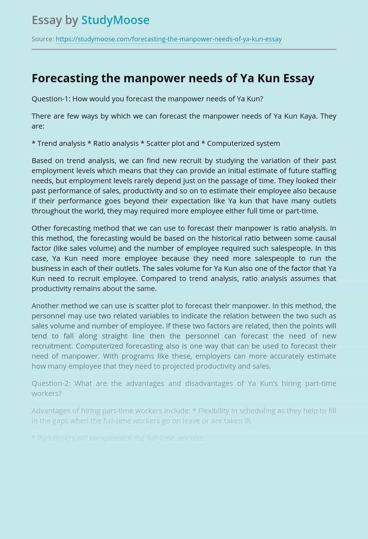 Forecasting the manpower needs of Ya Kun