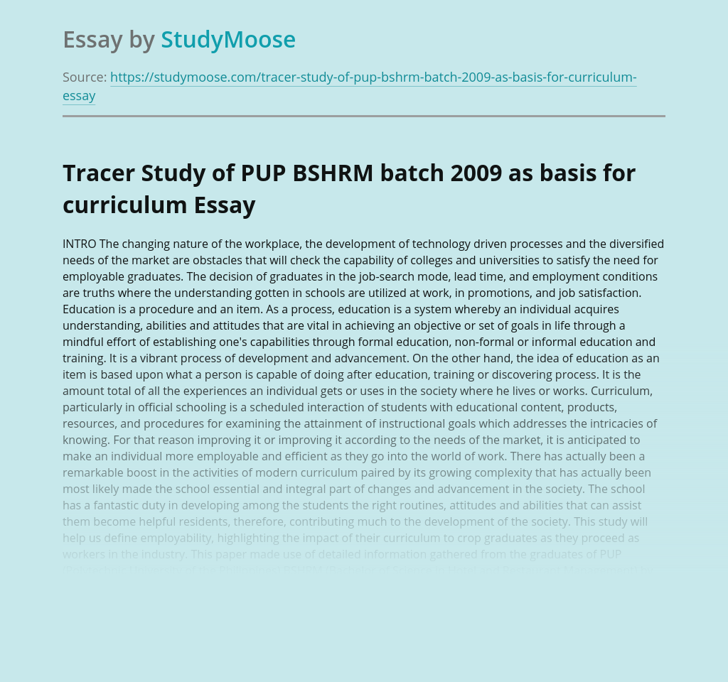 Tracer Study of PUP BSHRM batch 2009 as basis for curriculum