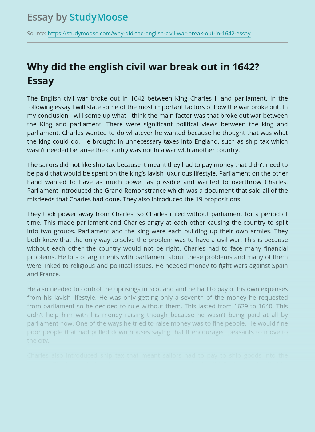 Reasons Why the English Civil War Broke Out in 1642