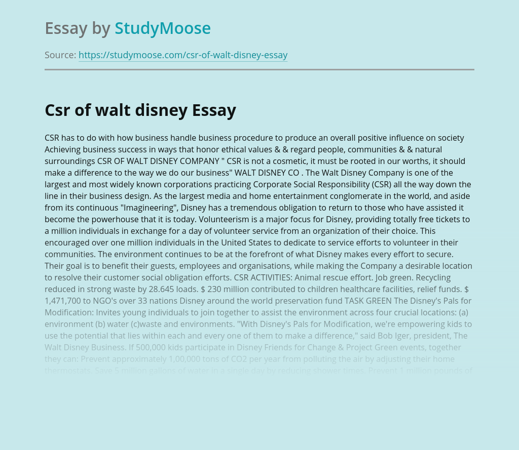 Csr of walt disney