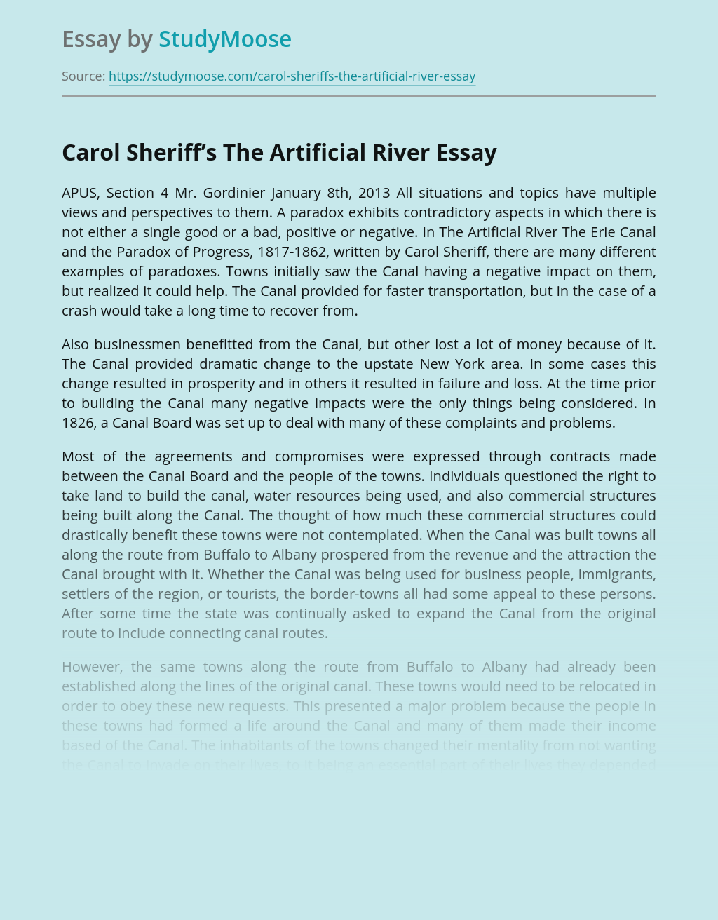Carol Sheriff's The Artificial River