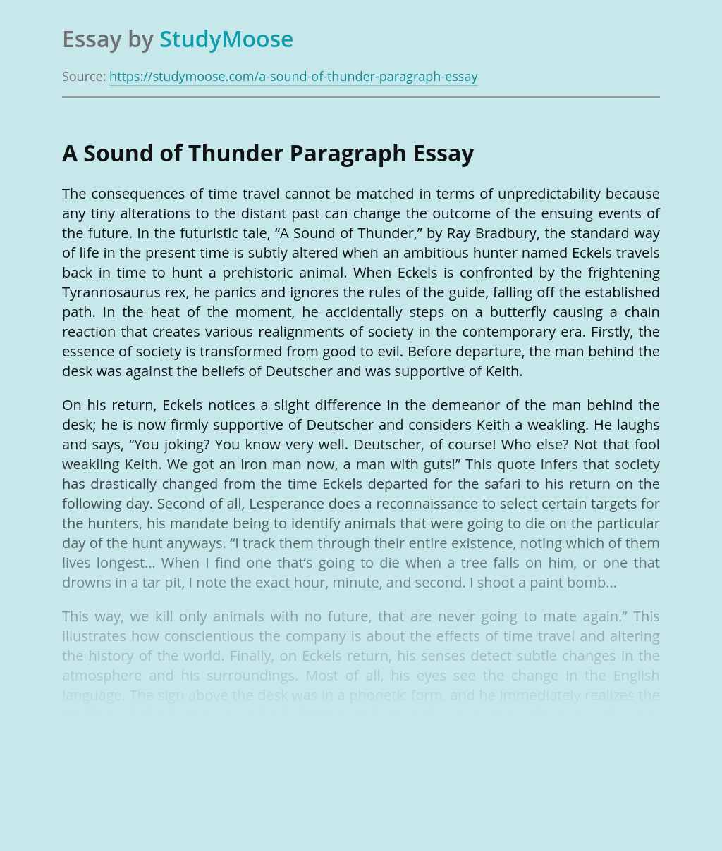 A Sound of Thunder Paragraph