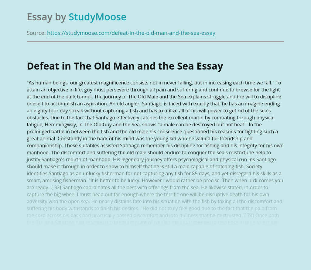 Defeat in The Old Man and the Sea