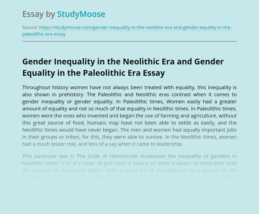 Gender Inequality in the Neolithic Era and Gender Equality in the Paleolithic Era