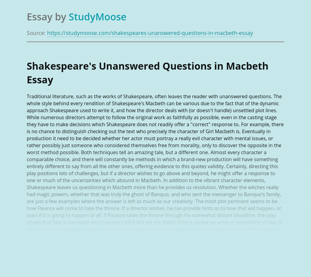 Shakespeare's Unanswered Questions in Macbeth