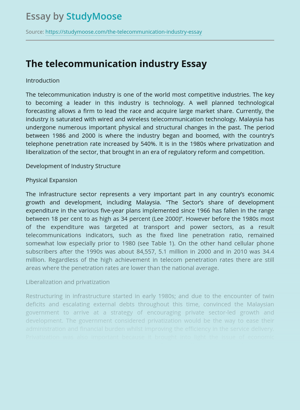 The telecommunication industry