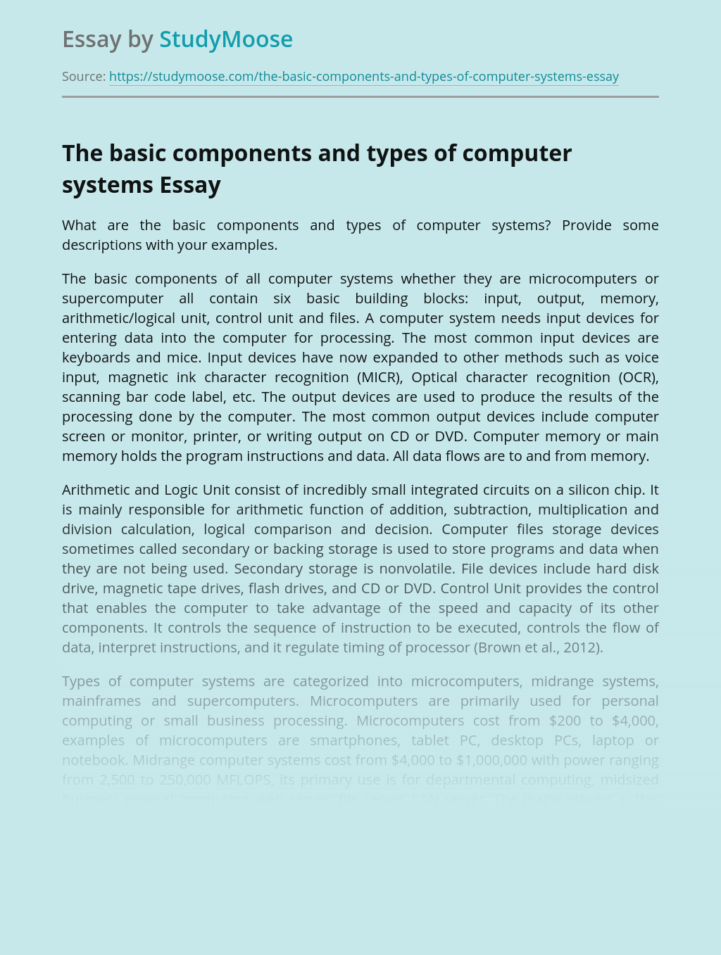 The basic components and types of computer systems