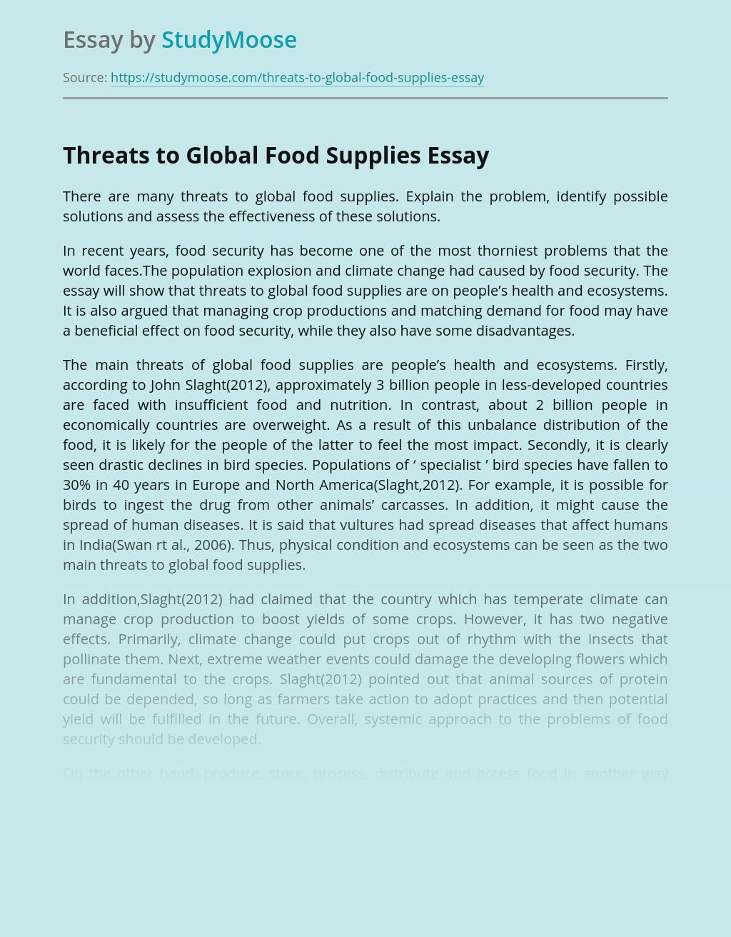 Threats to Global Food Supplies