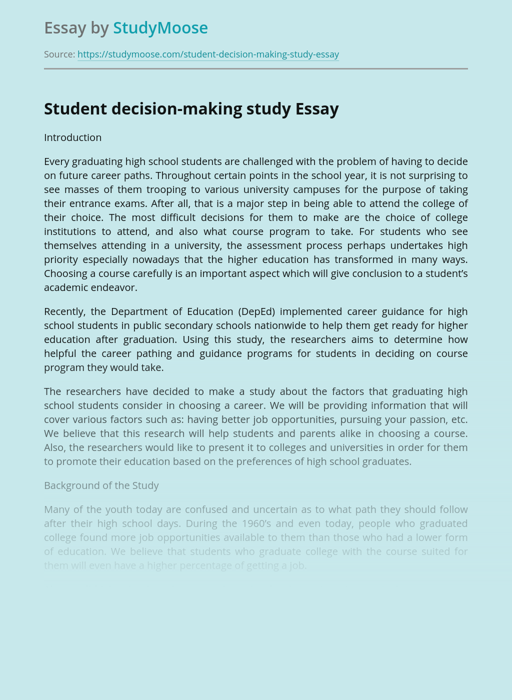 Student decision-making study