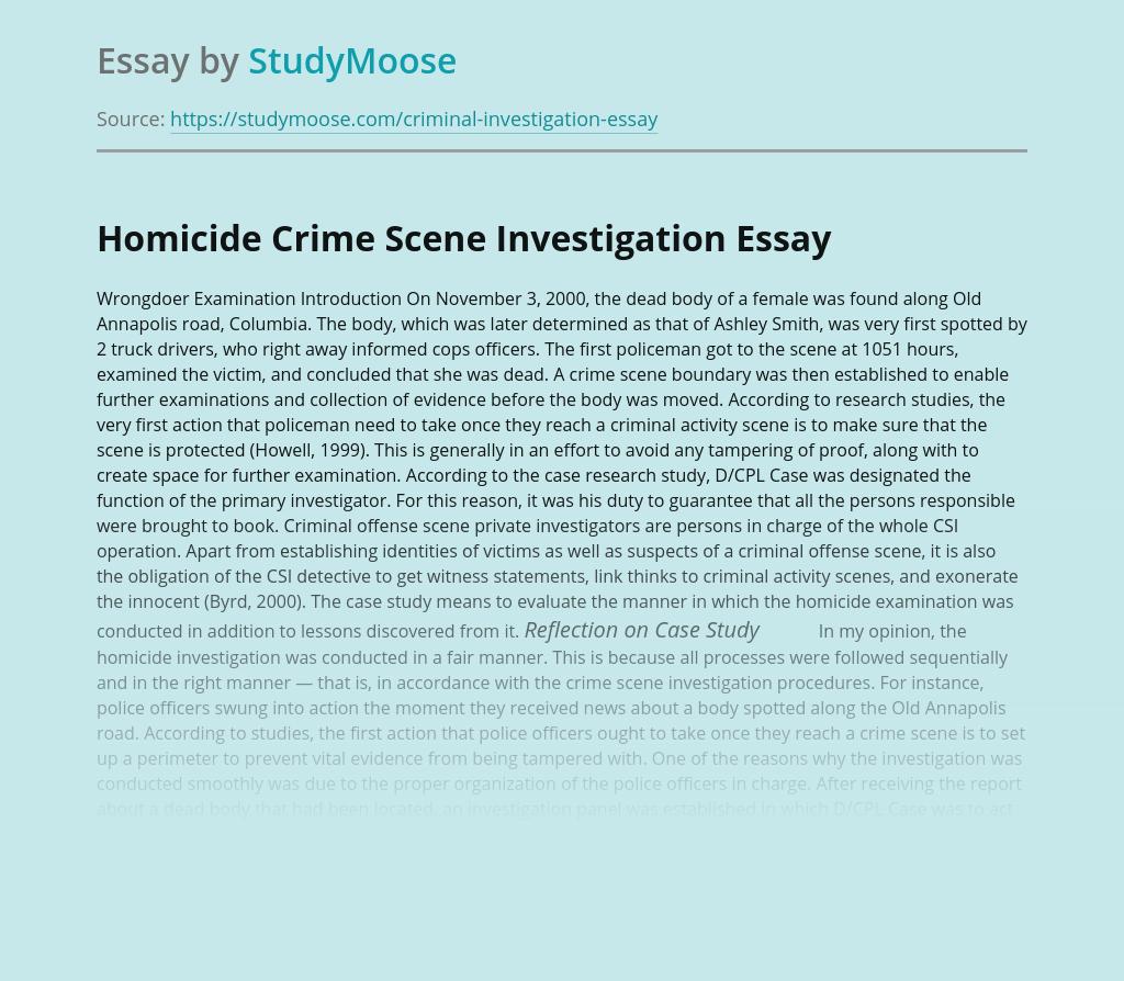 Homicide Crime Scene Investigation