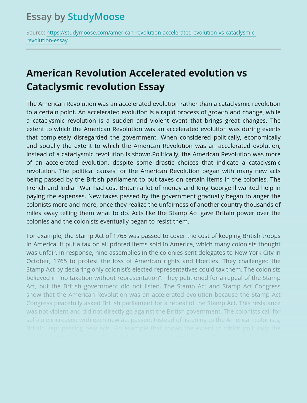 American Revolution Accelerated evolution vs Cataclysmic revolution