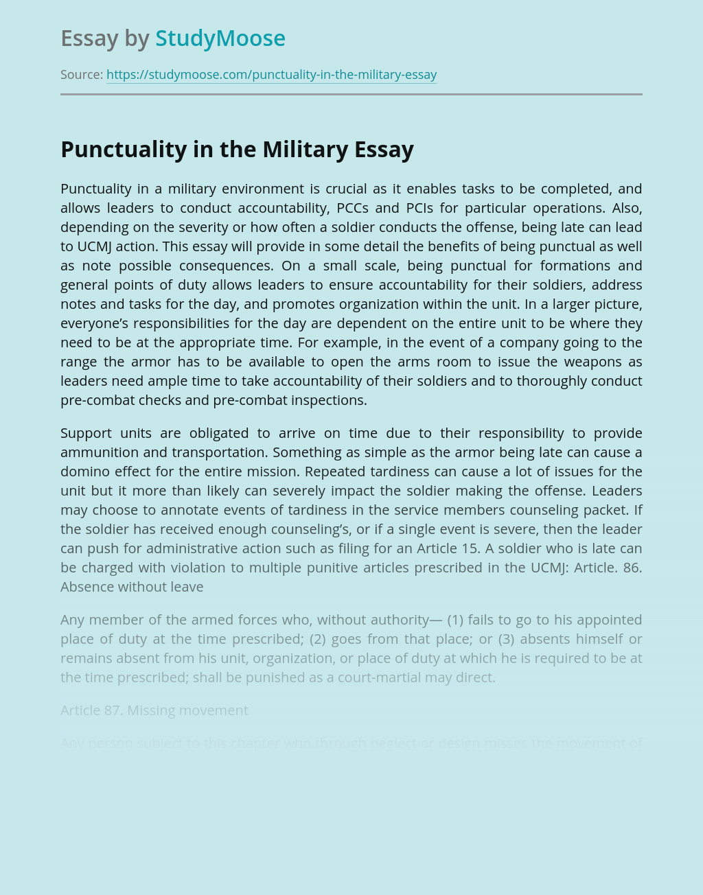 Punctuality in the Military