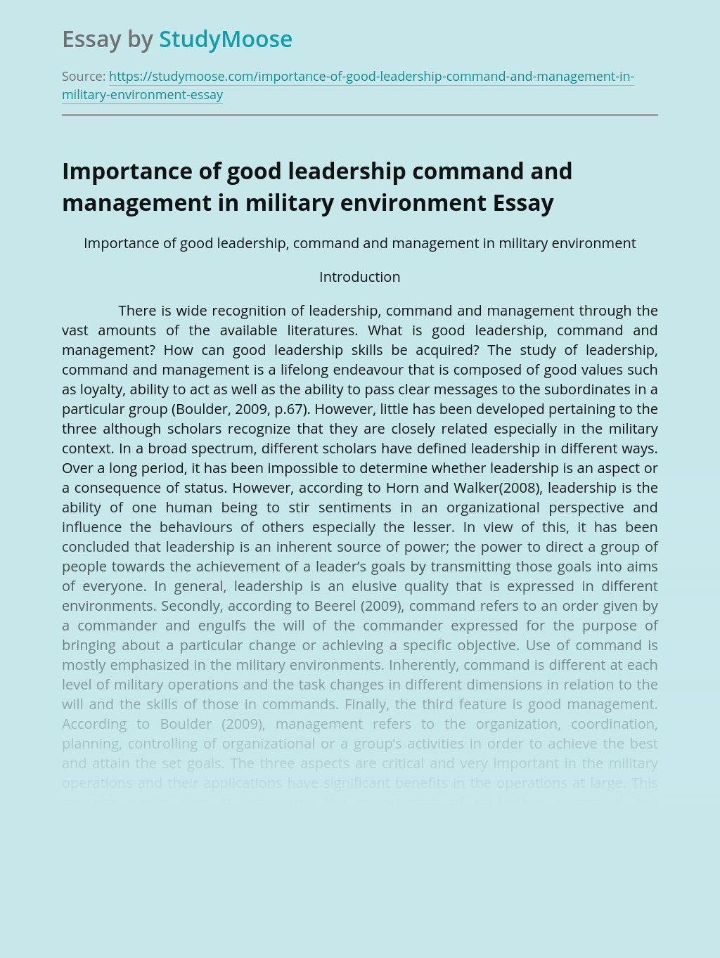 Importance of good leadership command and management in military environment