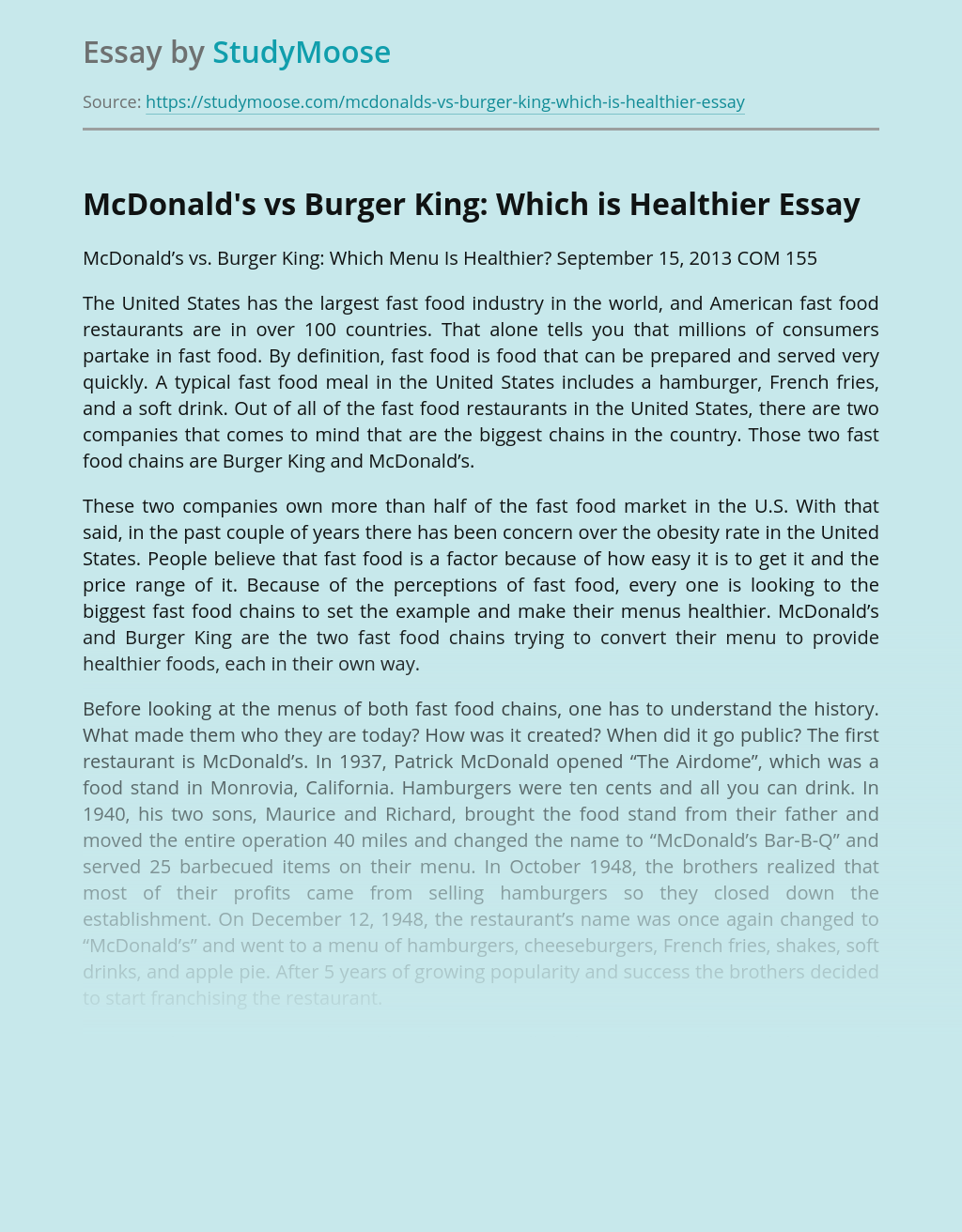 McDonald's vs Burger King: Which is Healthier