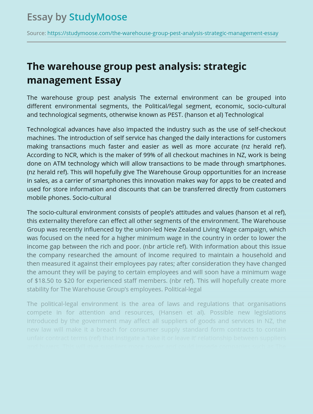 The warehouse group pest analysis: strategic management