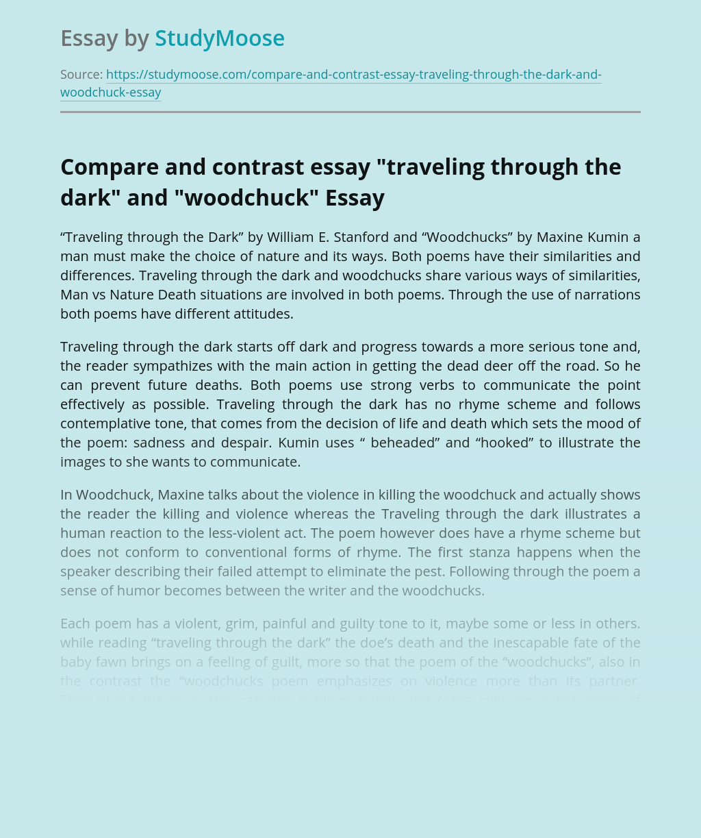 """Compare and contrast essay """"traveling through the dark"""" and """"woodchuck"""""""