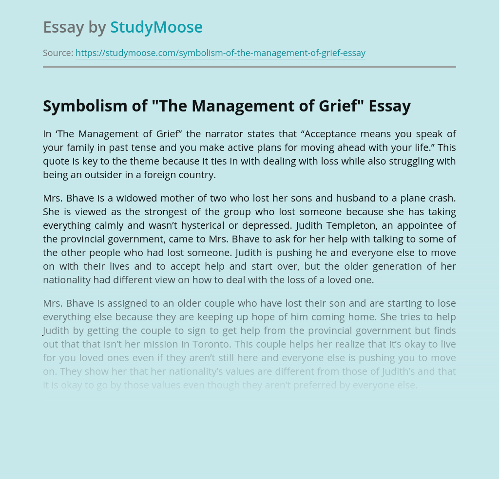 """Symbolism of """"The Management of Grief"""""""