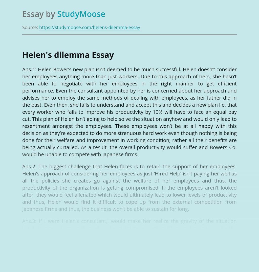 Helen's dilemma