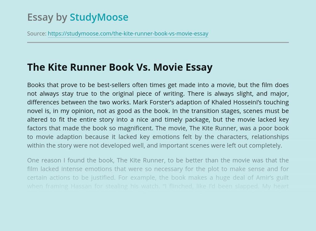 The Kite Runner Book Vs. Movie