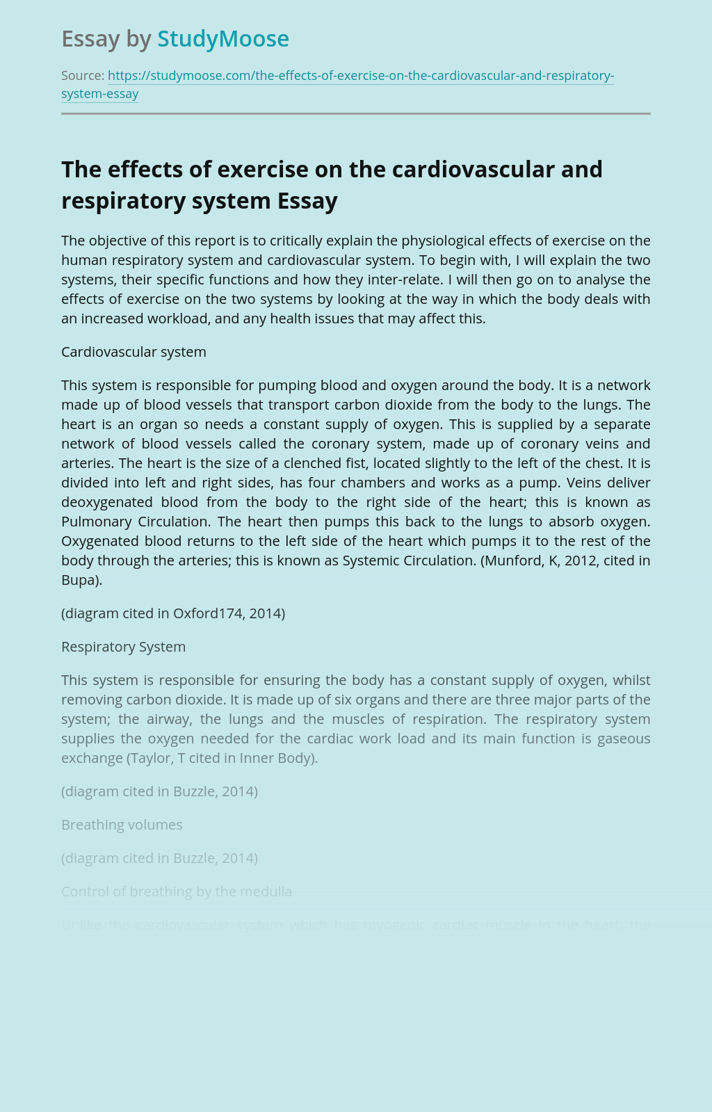 The effects of exercise on the cardiovascular and respiratory system