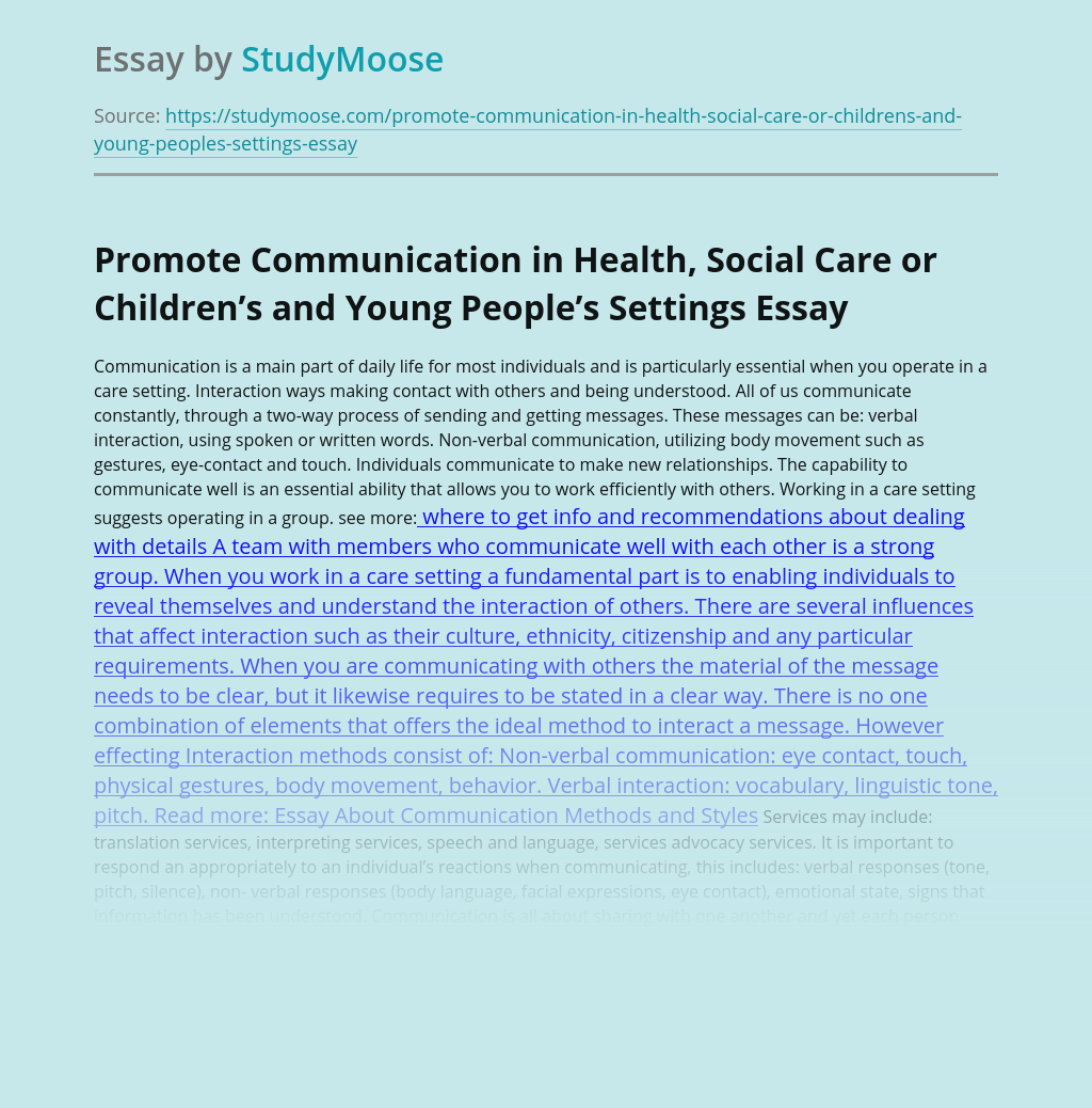 Promote Communication in Health, Social Care or Children's and Young People's Settings