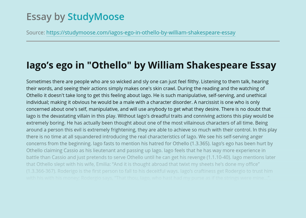 "Iago's ego in ""Othello"" by William Shakespeare"