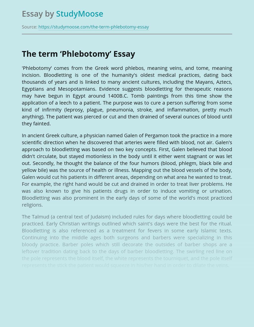 Phlebotomy in Preventive Health Care