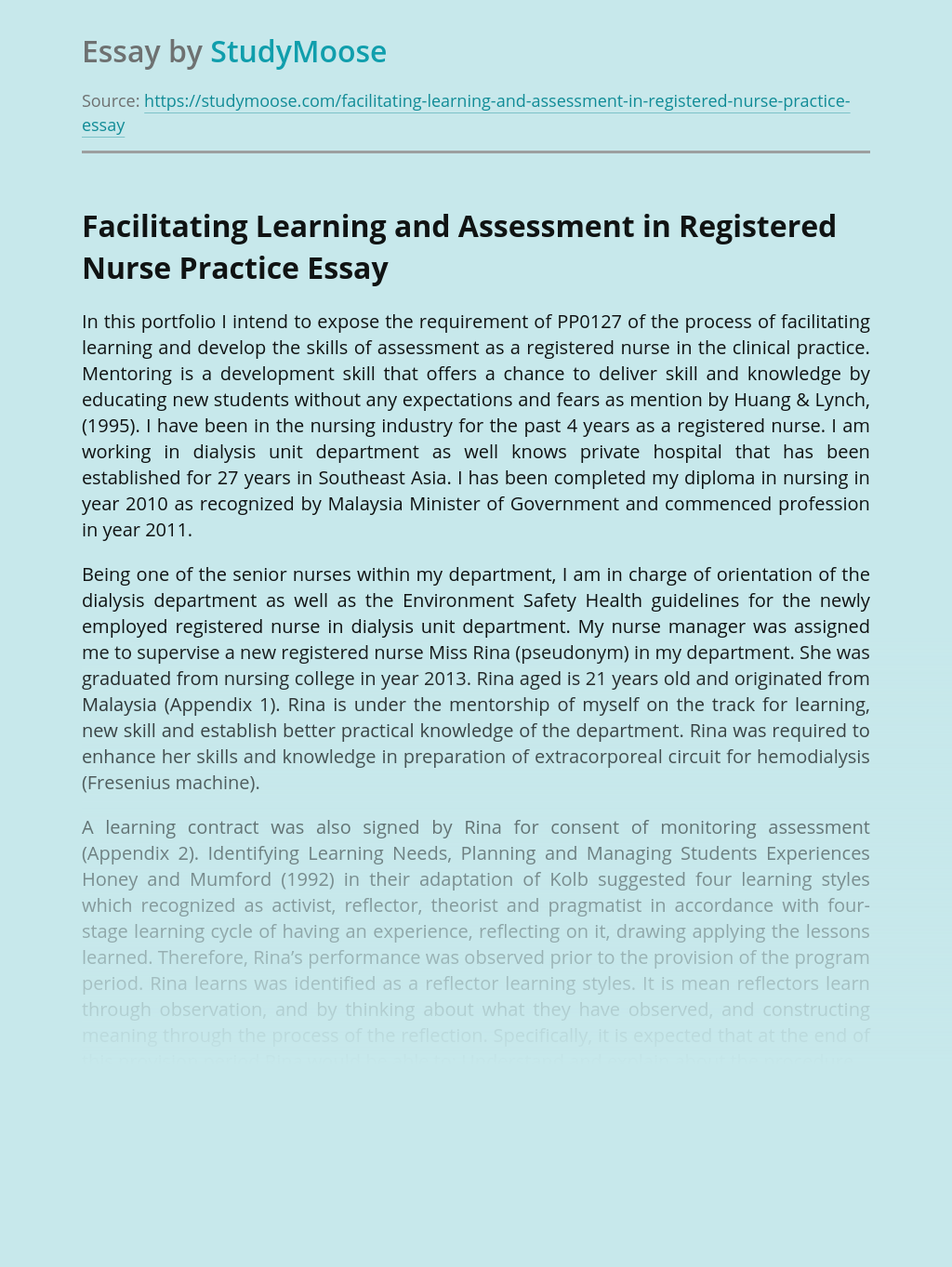 Facilitating Learning and Assessment in Registered Nurse Practice
