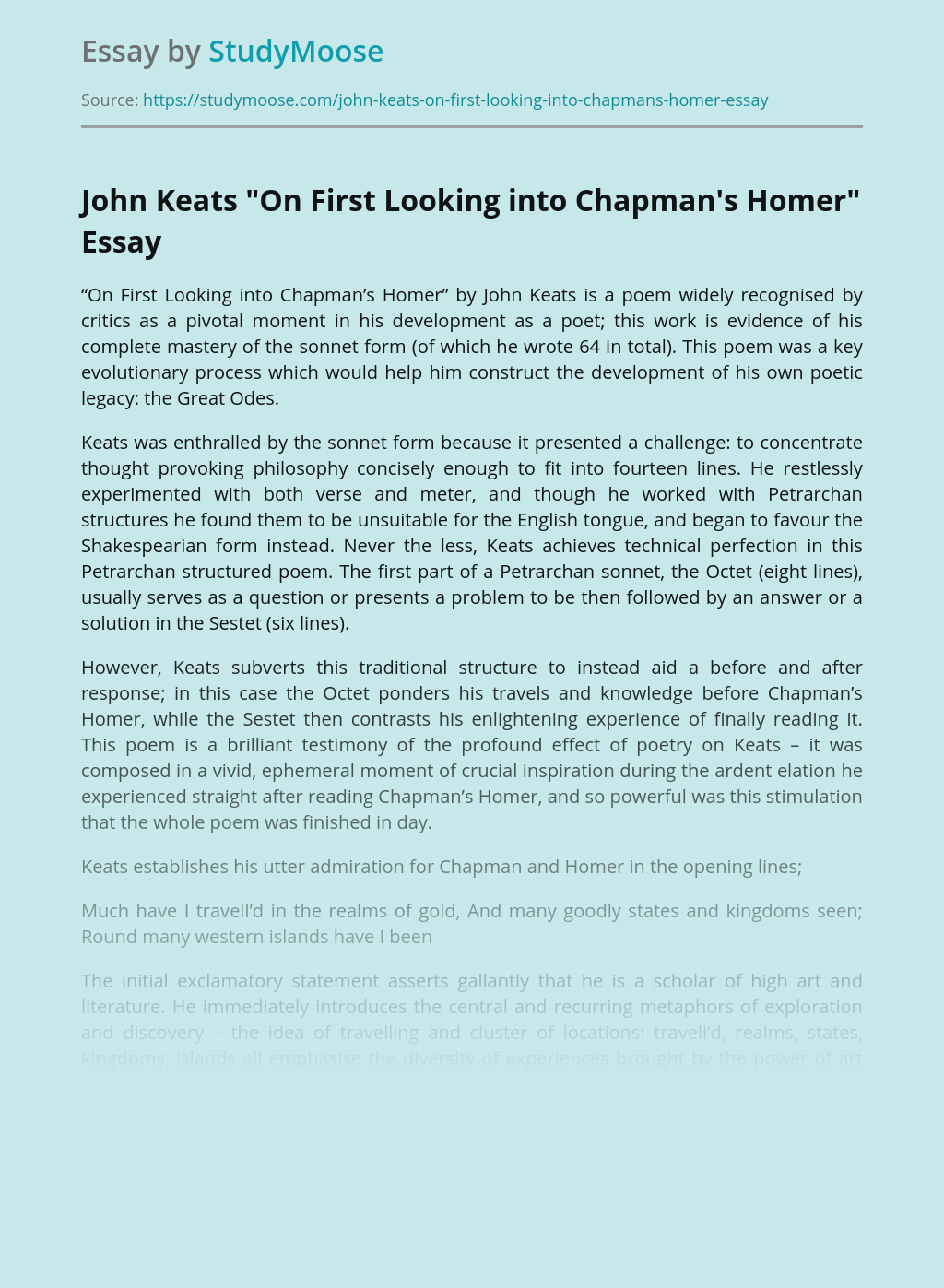 "John Keats ""On First Looking into Chapman's Homer"""