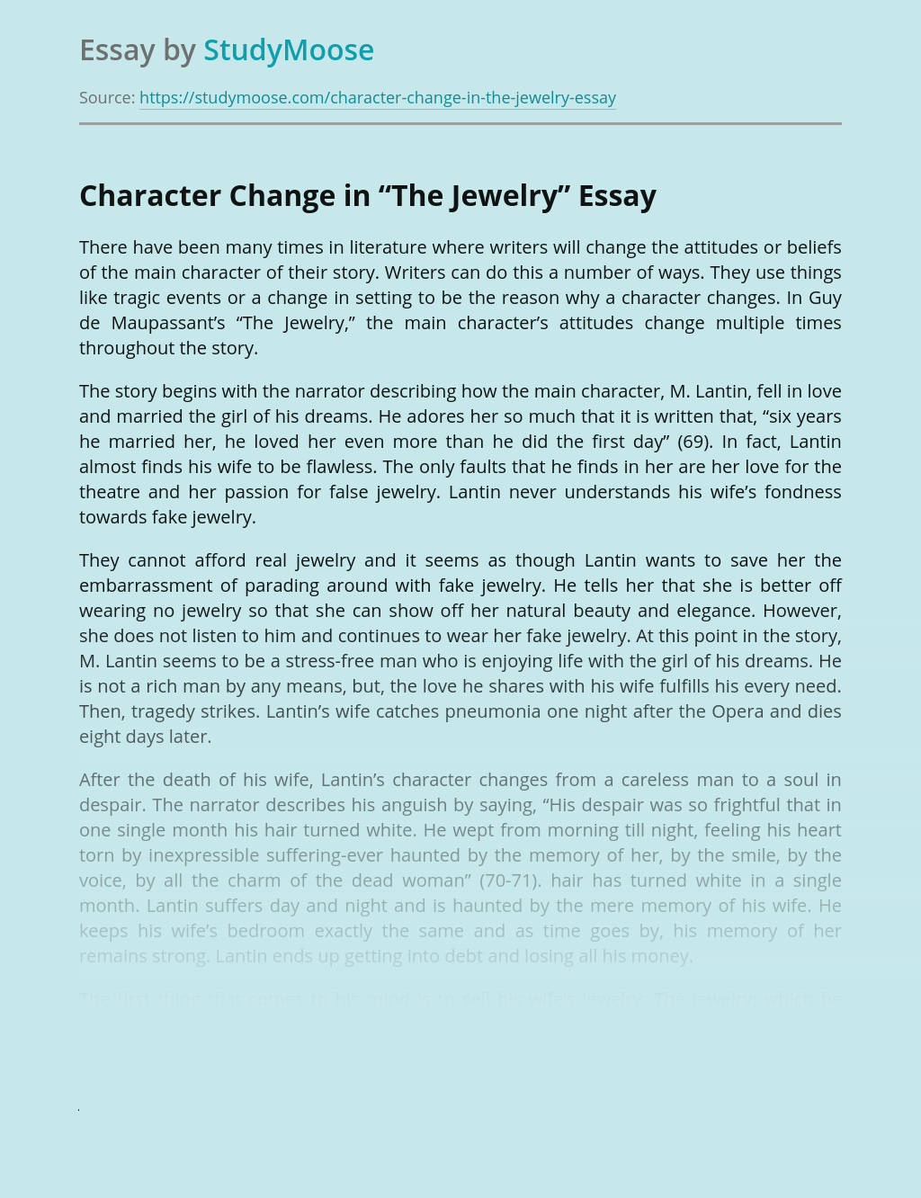 """Character Change in """"The Jewelry"""""""