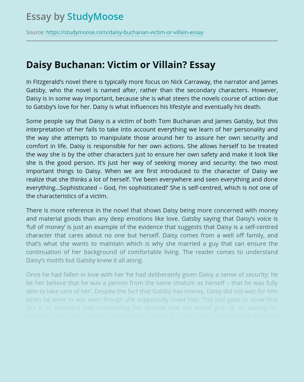 Character Daisy Buchanan is Victim or Villain