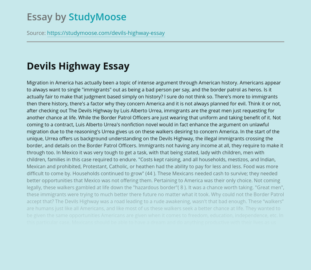 The Devils Highway on Migration in America