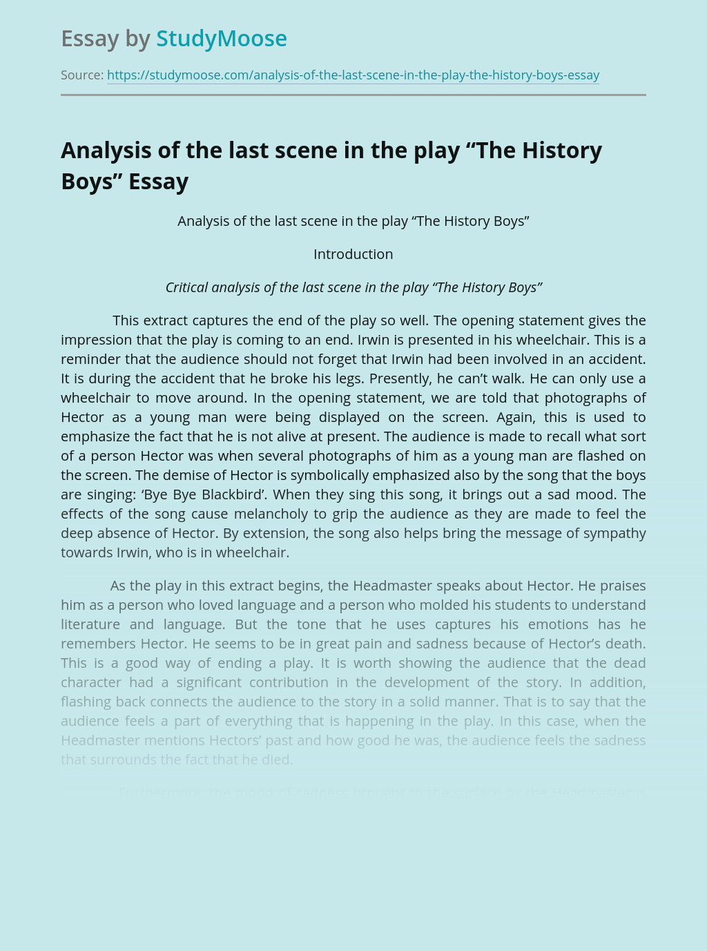 "Analysis of the last scene in the play ""The History Boys"""