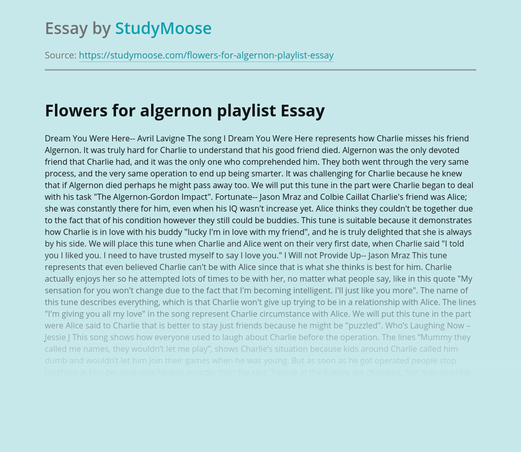 Flowers for algernon playlist