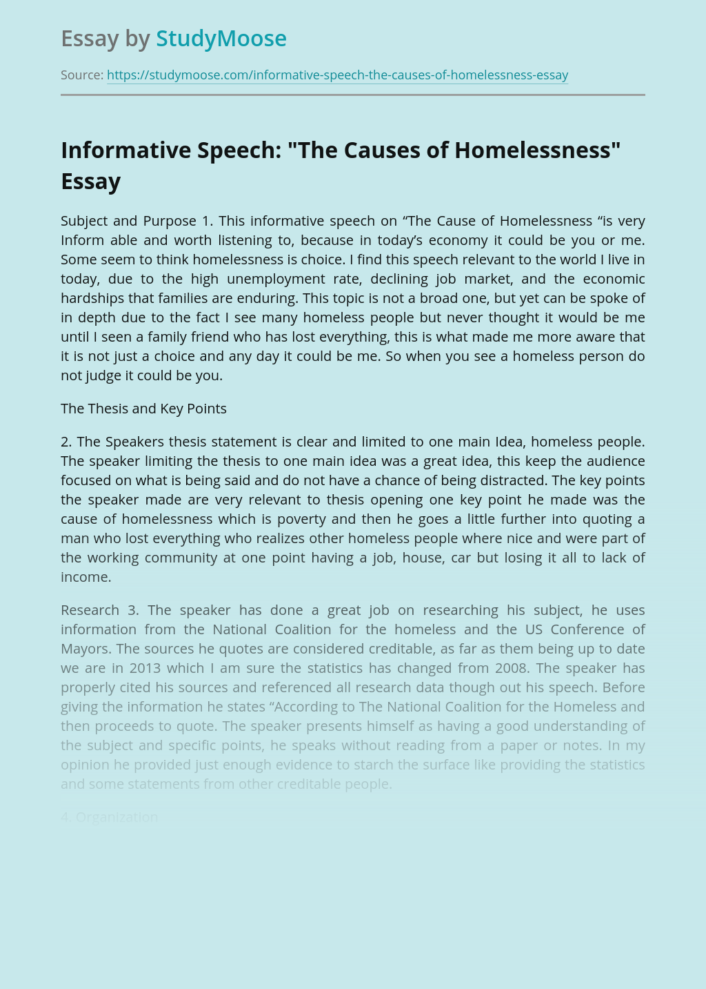 """Informative Speech: """"The Causes of Homelessness"""""""