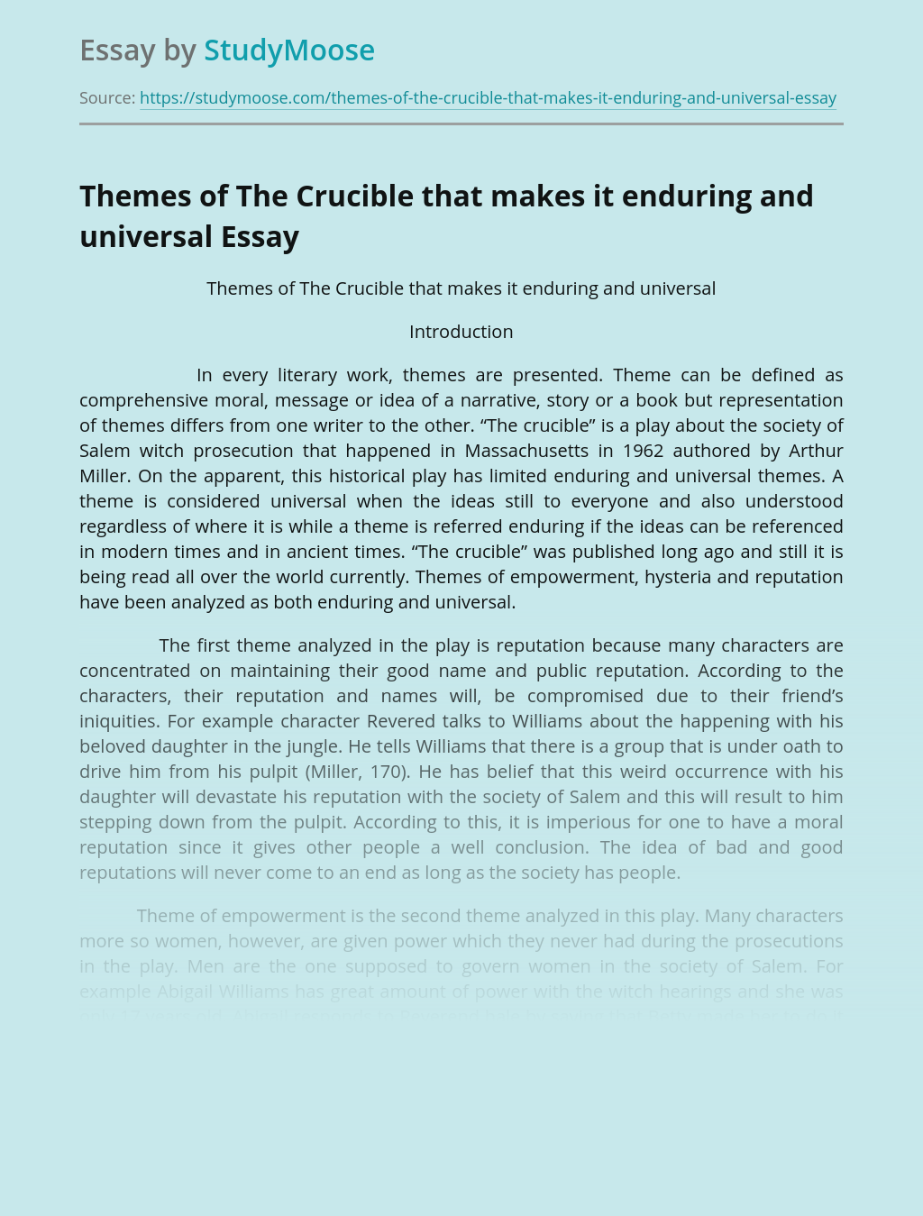 Themes of The Crucible that makes it enduring and universal