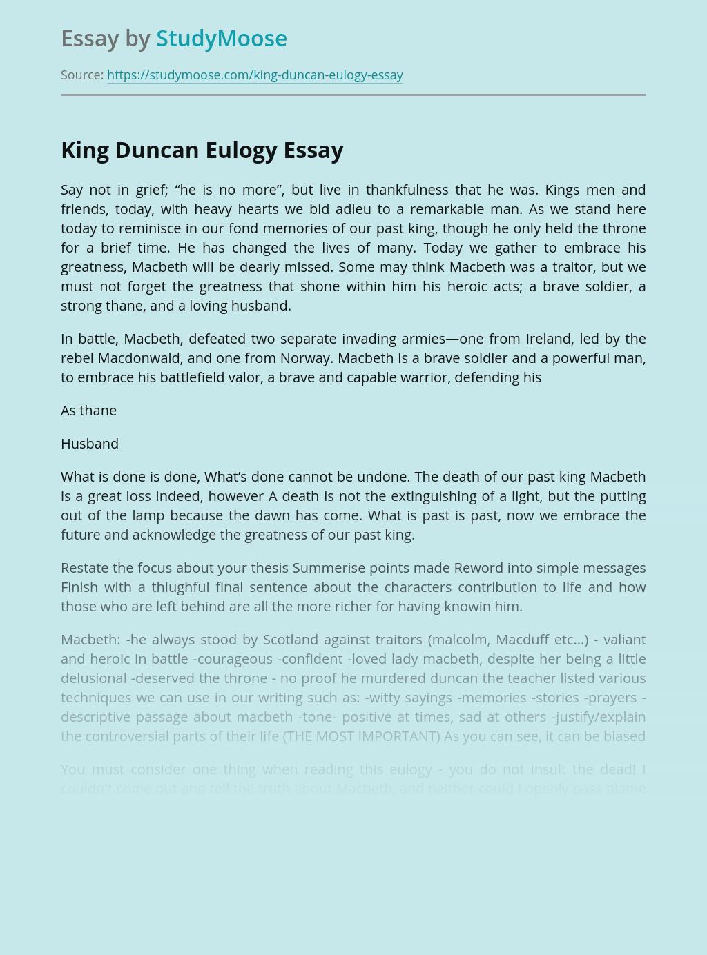 Eulogy for King Duncan in Macbeth