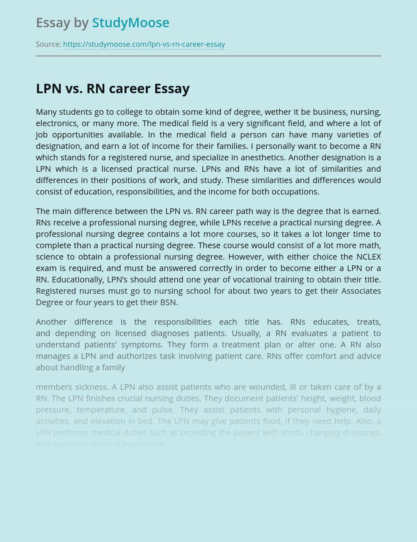 LPN vs. RN career