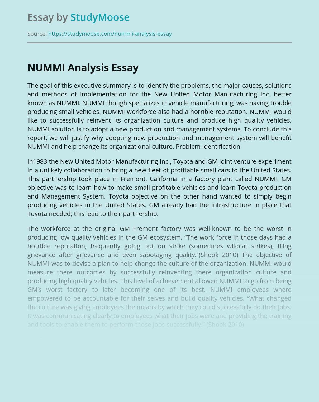 NUMMI Analysis
