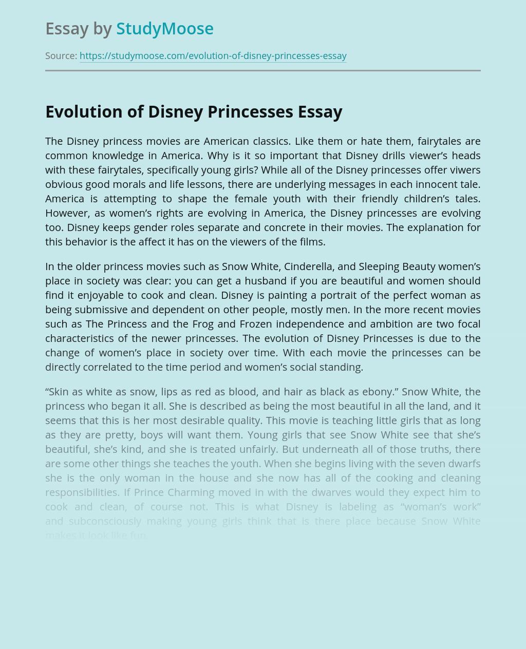 Evolution of Disney Princesses
