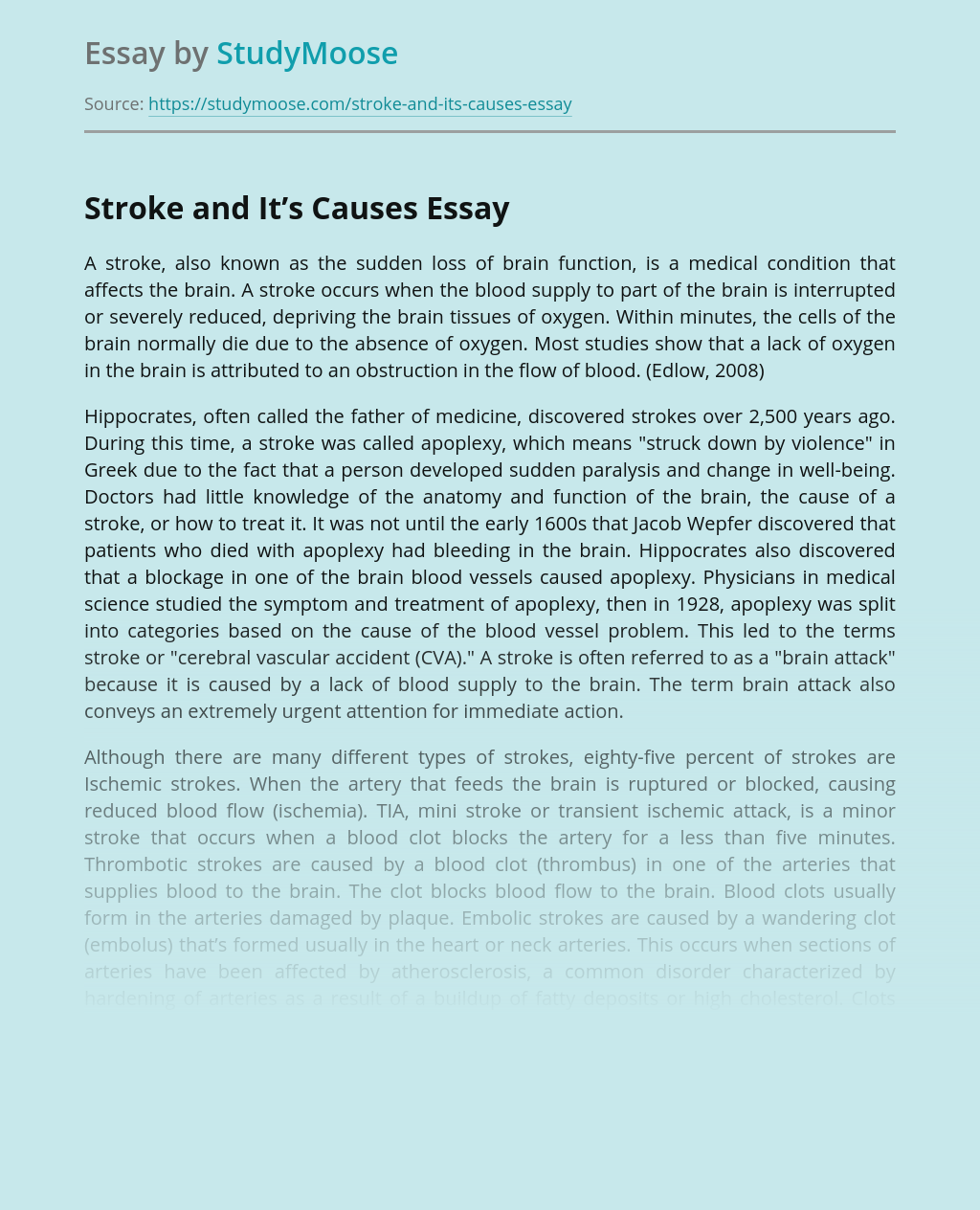 Stroke and It's Causes
