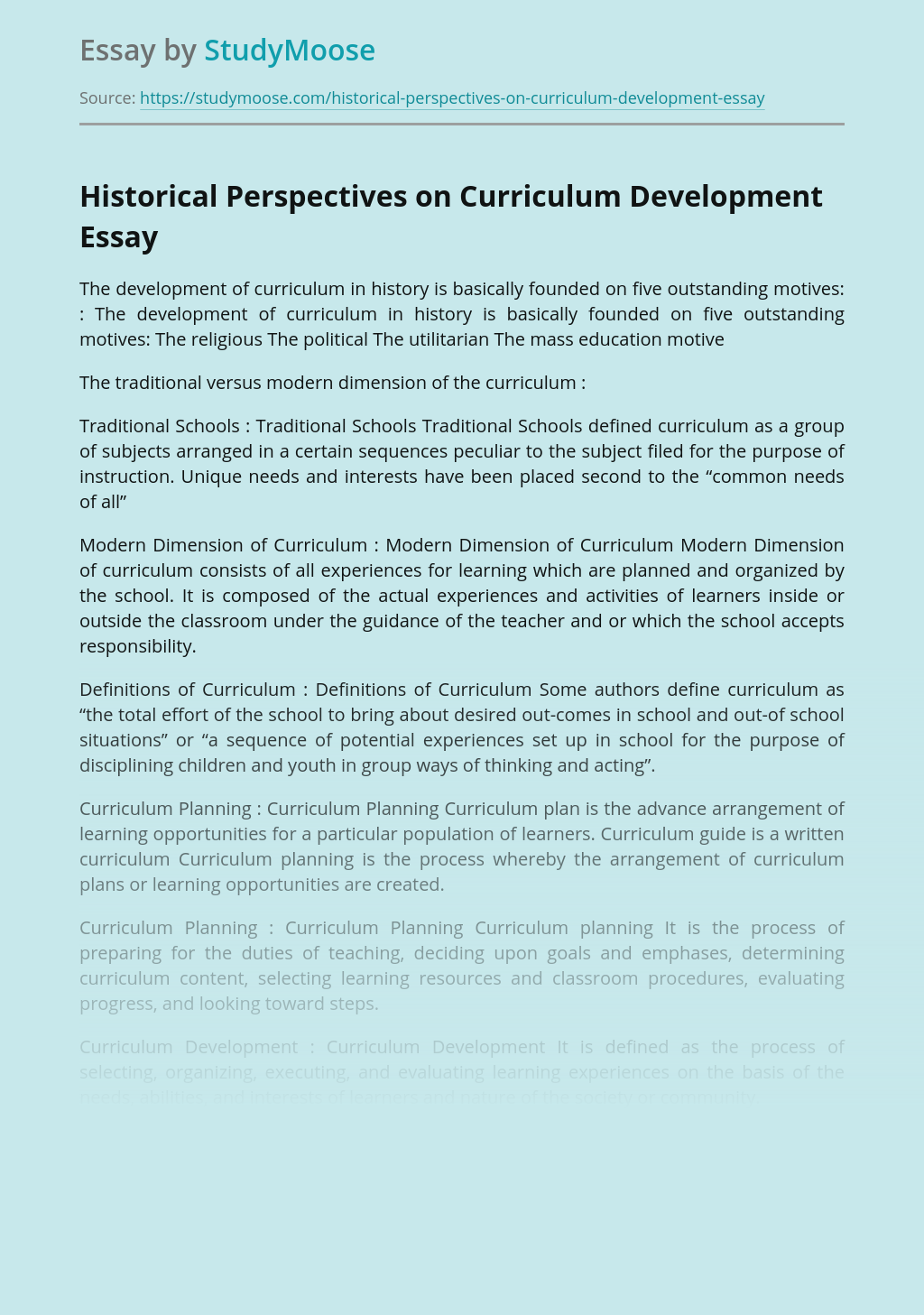 Historical Perspectives on Curriculum Development