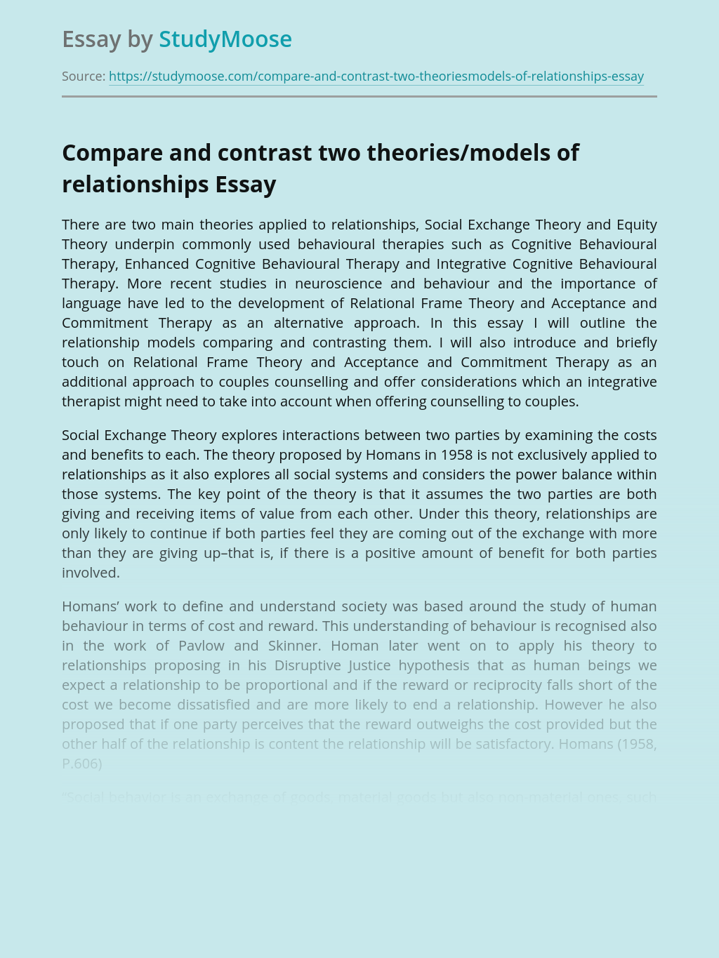 Compare and contrast two theories/models of relationships